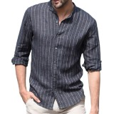 Mens Casual Shirts Cotton Long Sleeve Vertical Striped Printing Stand Collar Shirts