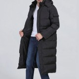 Mens Winter Outdoor Windproof Warm Solid Color Hooded Long Padded Jacket Parka Outerwear