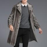 Mens Mink Faux Fur Coats Mid Long Winter Warm Stylish Furry Overcoat