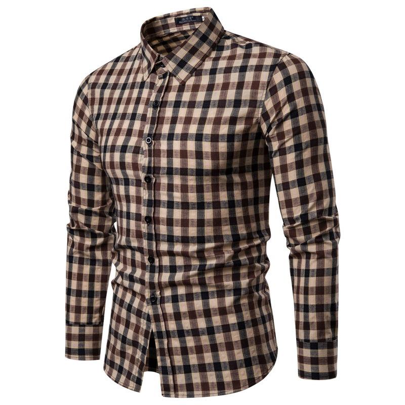 Mens Casual Business Plaid Turndown Long Sleeve Quality Slim Shirts