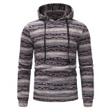 Mens Striped Hooded Drawstring Long Sleeve Slim Fit Casual Hoodies Sweatshirts