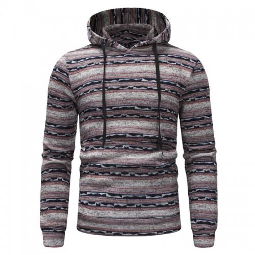 Mens Striped Hooded Drawstring Long Sleeve Slim Fit Casual Hoodies Sweatshirts