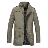 Mens Water Repellent Windproof Stand Collar Thick Padded Jacket Solid Color Trench Coat