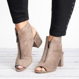 Large Size Peep Toe Ankle Boots Front Zipper Chunky Heel Sandals Pumps