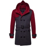 Mens Mid-long Contrast Color Splice Woolen Jacket Double Breasted Hooded Trench Coat