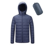Mens Down Cotton Padded Jacket Portable Stand Collar Hooded Light Coat