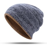 Double-Sided Wearing Double-Layer Knit Hat Winter Warm Ear Protector Beanie Cap