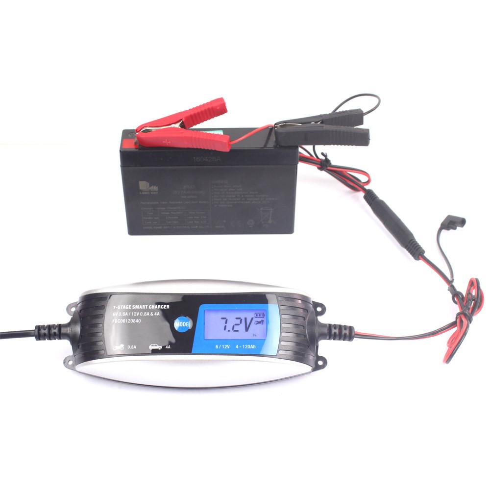 FOXSUR 6V12V 7 stage Motorcycle LCD Intelligent Car Smart Battery Charger