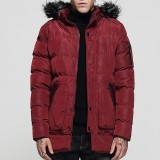 Mens Winter Mid-long Thick Warm Coats Faux Fur Collar Hooded Casual Parka