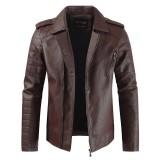 Mens Faux Leather Fleece Warm Lapel Collar Slim Zipper Jacket