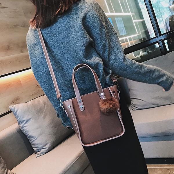 Women Faux Leather Bucket Bag Solid Leisure Crossbody Bag Shoulder Bag Handbag