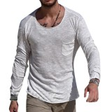 Mens Vintage Breathable Solid Color Pocket Round Neck Long Sleeve Casual T-Shirts