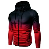 Mens Gradient Slim Fit Zipper Up Gradually Changing Color Casual Sport Hoodies Sweatshirts