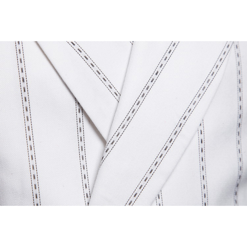 Mens Fashion Striped Printing Casual Double Breasted Slim Suits