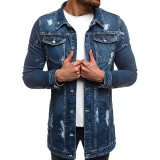 Mens Casual Multi Pockets Buttons Single Breasted Slim Denim Jacket
