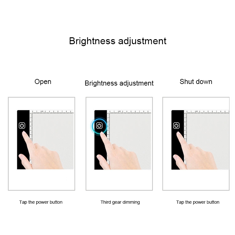 3.5W 5V LED USB Three Level of Brightness Dimmable A4 Acrylic Scale Copy Boards Anime Sketch Drawing Sketchpad with USB Cable 1.5m & Power Adapter