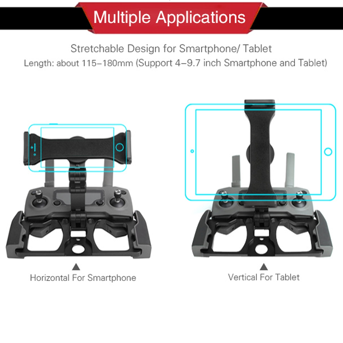 Sunnylife TY-ZJ034 Upgrade Full Aluminum Alloy Smartphone & Tablet Holder for DJI Mavic 2 / Mavic Pro / Mavic Air / Spark (Black)