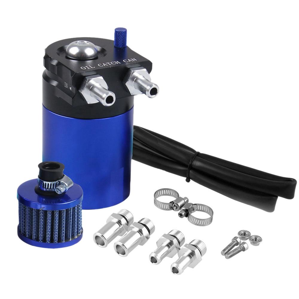 Universal Racing Aluminum Oil Catch Can Oil Filter Tank Breather Tank, 300ML (Black Blue)