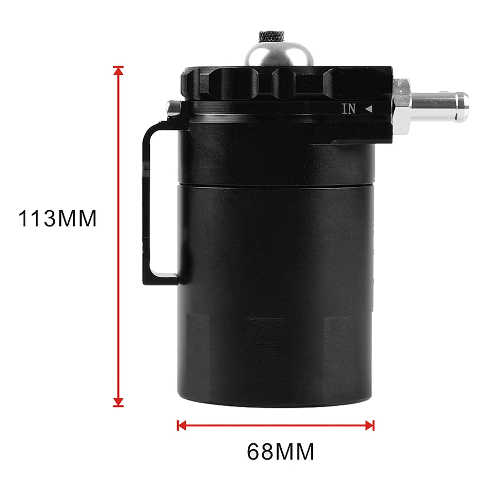 Universal Racing Aluminum Oil Catch Can Oil Filter Tank Breather Tank, 300ML (Black)