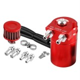 Universal Racing Aluminum Oil Catch Can Oil Filter Tank Breather Tank, 300ML (Red)
