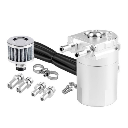 Universal Racing Aluminum Oil Catch Can Oil Filter Tank Breather Tank, 300ML (Silver)