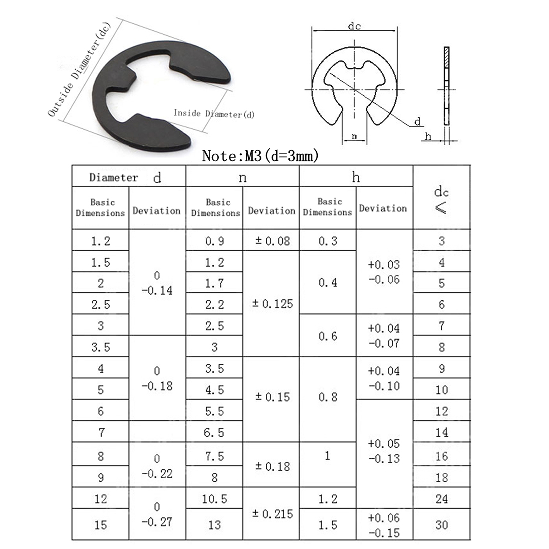 High Precision 160 PCS Car E Shape Circlip Snap Ring Assortment Retaining Rings.