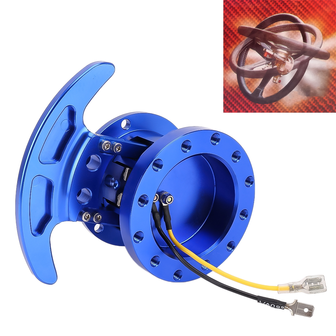 Car Tilt Racing Steering Wheel Quick Release Hub Kit Adapter Body Removable Snap Off Boss Kit (Blue)