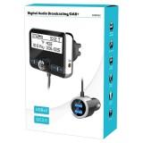 DAB002 Car DAB Dual USB Charging Smart Bluetooth Digital FM Transmitter MP3 Music Player Car Kit, Support Hands-Free Call & TF Card