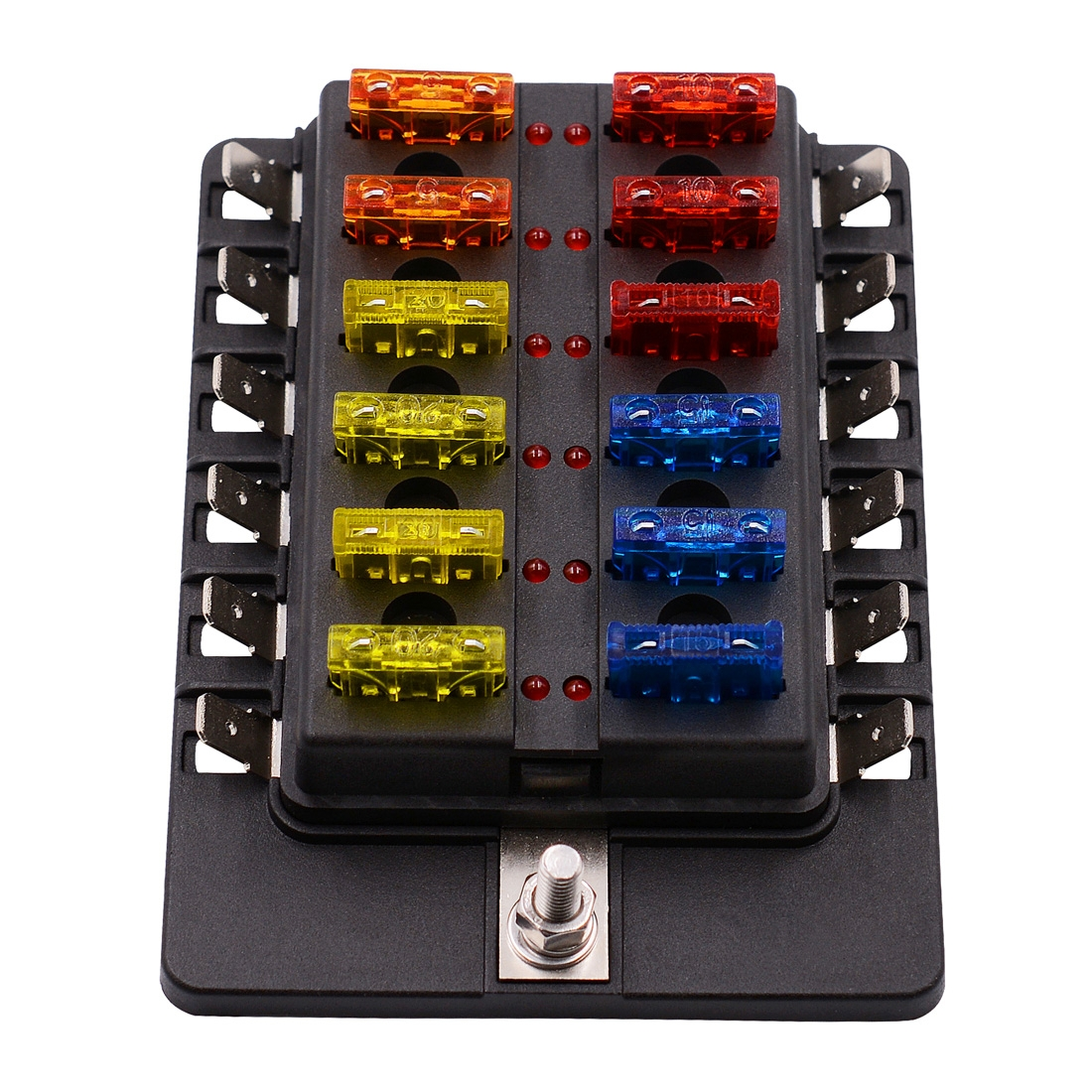 1 In 12 Out Fuse Box Pc Terminal Block Fuse Holder Kits With Led Warning Indicator For Auto Car