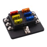 1 in 6 Out 6 Way Circuit Fuse Box Screw Terminal Section Fuse Holder Kits with LED Warning Indicator for Auto Car Truck Boat