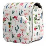 Flamingo Cactus Pattern PU Leather Protective Camera Case Bag For FUJIFILM Instax Mini 7S / 7C Camera