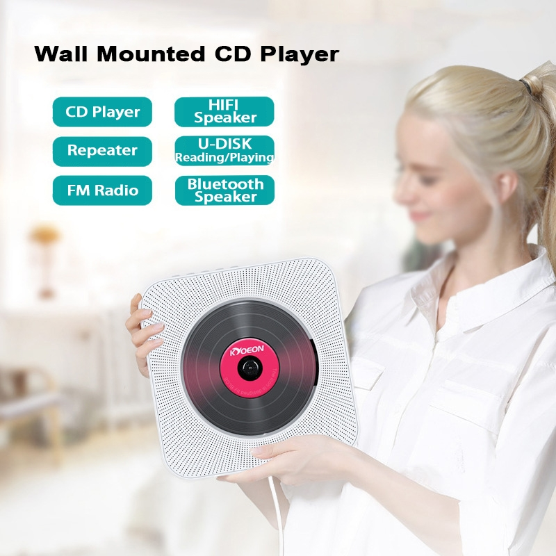 KC-808 Wall Mounted Bluetooth 4 2+EDR CD Player with Remote Control,  Support FM (White)
