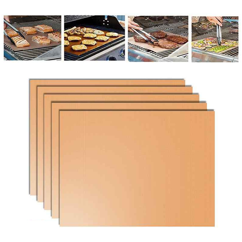 5 PCS 0.2mm Barbecue Grill Mat Non-Stick BBQ Baking Mats, 40x33cm (Bronze)