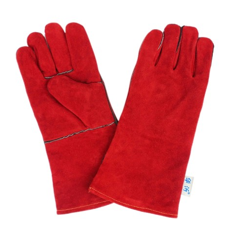 246# Wear-Resistant Full Two-layer Leather Insulation Gloves High Temperature Welding Welder Gloves Leather Work Protection, 34*16cm