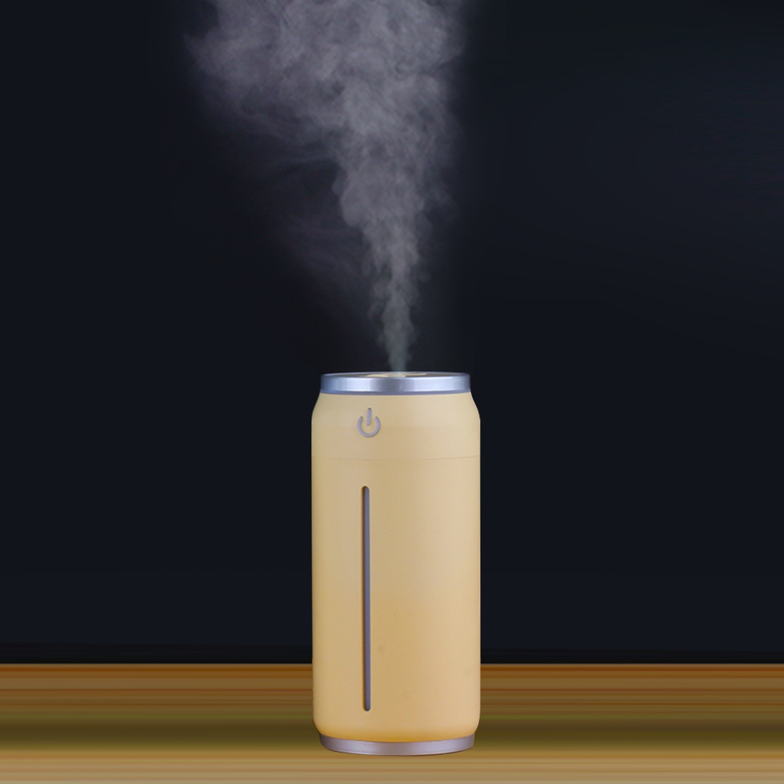 Mini Portable Misty Can Shape Mute Desktop Air Humidifier with Extended USB Port (Apricot)