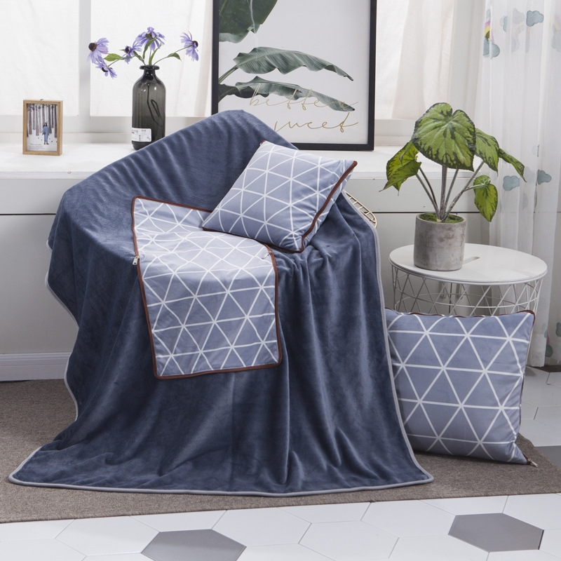 Blue Diamond Pattern Multifunctional Plush Blanket Square Pillow Quilt Office Car Pillow Cushion, Size: M