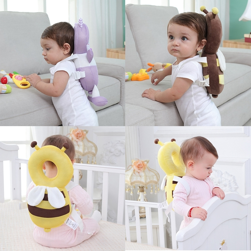 Breathable Bear Pattern Shockproof Head Pad for Baby Children Waliking