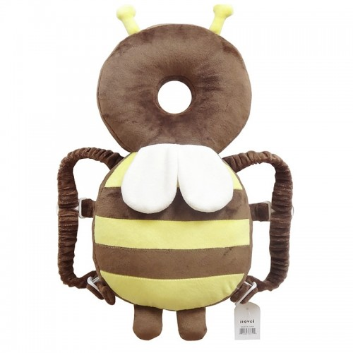Big Brown Plush Bee Pattern Shockproof Head Pad for Baby Children Waliking