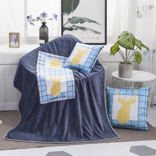 Nordic Deer Pattern Multifunctional Plush Blanket Square Pillow Quilt Office Car Pillow Cushion, Size: M