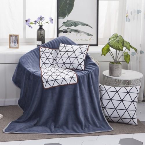 White Diamond Pattern Multifunctional Plush Blanket Square Pillow Quilt Office Car Pillow Cushion, Size: M