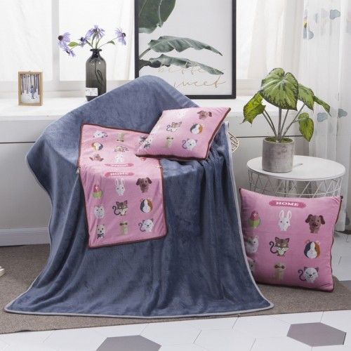 Animals Pattern Multifunctional Plush Blanket Square Pillow Quilt Office Car Pillow Cushion, Size: M