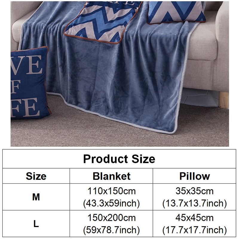 Blue Hello Pattern Multifunctional Plush Blanket Square Pillow Quilt Office Car Pillow Cushion, Size: M