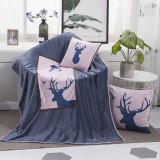 Milu Deer Pattern Multifunctional Plush Blanket Square Pillow Quilt Office Car Pillow Cushion, Size: M
