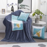 Deer Pattern Multifunctional Plush Blanket Square Pillow Quilt Office Car Pillow Cushion, Size: M