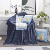 Blue Nordic Life Pattern Multifunctional Plush Blanket Square Pillow Quilt Office Car Pillow Cushion, Size: M
