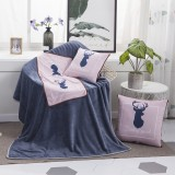 Pink Mule Deer Pattern Multifunctional Plush Blanket Square Pillow Quilt Office Car Pillow Cushion, Size: M