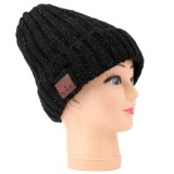 Bluetooth Knit Hat Coarse Wool Cap, Supports Phone Answering & Bluetooth Photo Taking & Music Playing (Black)