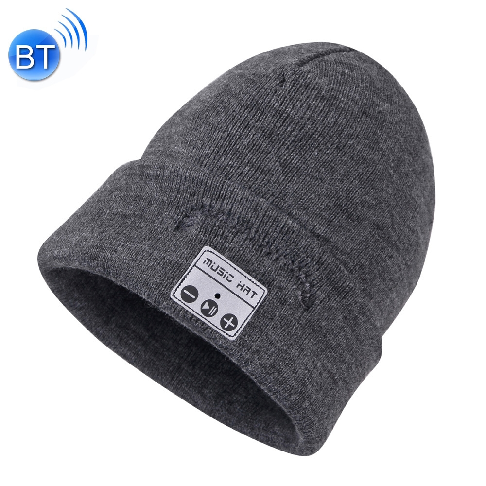 Bluetooth Warm Knit Hat, Supports Phone Answering & Bluetooth Photo Taking & Music Playing (Grey)