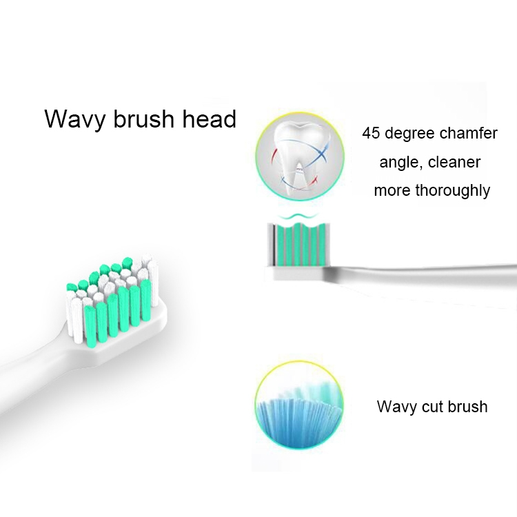 USB Wireless Charge Sonic Electric Toothbrush Adult Oral Hygiene Rechargeable Ultrasonic Tooth Brush with 4 Brush Heads (Green)
