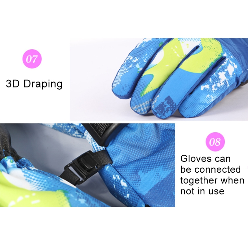 Protective Unisex Skiing Riding Winter Outdoor Sports Touch Screen Thickened Splashproof Windproof Warm Gloves, S